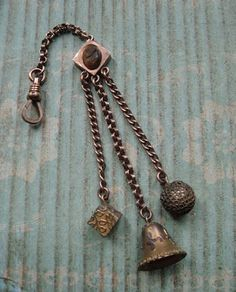 Victorian Fob Etruscan Revival Style With Tiger Eye Cameo and Charm Trio