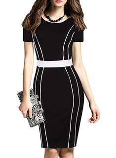 c68b303c0a28c online shopping for MUSHARE Women s Short Sleeve Colorblock Midi Cocktail  Party Penci Dress from top store. See new offer for MUSHARE Women s Short  Sleeve ...