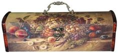 """ANTIQUE STYLE WINE BOX - WINE PURSE HARVEST MOTIF by Harbour Bay Inc.. $14.95. Our Harvest Wine Box which holds one bottle of wine is cloth decorated. Made of solid wood with an ornate handle and matching clasp, this Wine Box has a dark mahogany accent.  This vintage style Wine Box / Purse (Cabinet) will make your wine gift even more memorable.  Dimensions: 14¾"""" long x 4¾"""" wide x 4¾"""" high."""