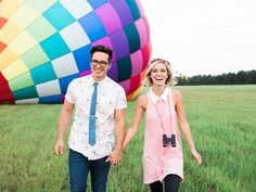 Colorful Hot Air Balloon Engagement Session ~ we ❤ this! moncheribridals.com