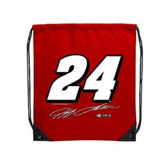 Jeff Gordon NASCAR Cinch Bag by NASCAR. $15.99. Tired of lugging around a big backpack when you only need a few small items? This cinch sack from R and R Imports wont weigh you down while youre running quick errands. The canvas construction provides long-lasting durability while the drawstring shoulder straps keep your belongings secure. Features your favorite NASCAR drivers number and signature.