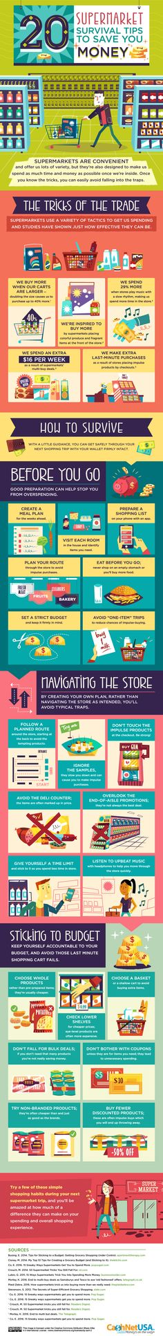 20 #SUPERMARKET SURVIVAL #TIPS TO SAVE YOU #MONEY - Do you fancy an infographic? There are a lot of them online, but if you want your own please visit http://linfografico.com/en/prices/ Online girano molte infografiche, se ne vuoi realizzare una tutta tua visita http://www.linfografico.com/prezzi/