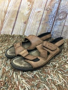 82ca3e501a0d Ecco Cosmo Shock Point Brown Leather Strap Cork Sport Sandals Size 10 US EU  41