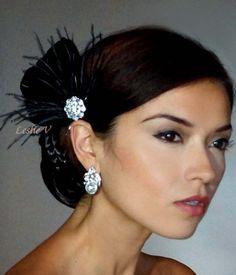 Zahara: Black Crystal Rhinestone Feather Fascinator Bridesmaid/Party Headpiece F32A null http://www.amazon.com/dp/B009NWQ46K/ref=cm_sw_r_pi_dp_SiaVtb00RBP3XH7Z