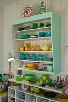 Retro Kitchen Shelves. Love. Always wanted a kitchen like this. Reminds me of my granny's house.