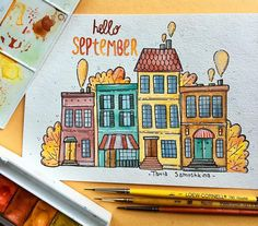 Drawing On Creativity - Drawing On Demand Watercolor Paintings For Beginners, Watercolor Drawing, Watercolor Illustration, Art Drawings Sketches, Doodle Drawings, Cute Drawings, Watercolor Architecture, Bullet Journal Art, Color Pencil Art