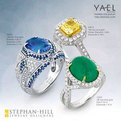 Our blue sapphire, yellow diamond and emerald rings are sitting under a tree at Stephan-Hill Jewelers in San Rafael. Which one would you like to have for Christmas? #bluesapphire #yellowdiamond #emerald #diamondring