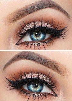 Atemberaubende Augen-Make-up Hacks! The post Atemberaubende Augen-Make-up Hacks! appeared first on makeup. Day Eye Makeup, Blue Eye Makeup, Eye Makeup Tips, Makeup Hacks, Smokey Eye Makeup, Eyeshadow Makeup, Makeup Brushes, Glowy Makeup, Makeup Ideas