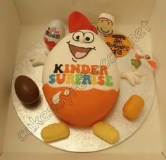 Kinder surprise cake - my son would LOVE this! 10 Birthday Cake, Surprise Cake, Egg Cake, Cakes For Boys, Sweet Cakes, Fondant Cakes, Cake Art, Beautiful Cakes, No Bake Cake