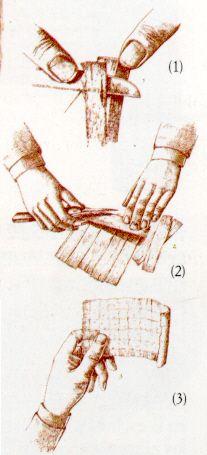 Ilustración de los cortes al tallo de papiro para la elaboración de los rollos para escritura.
