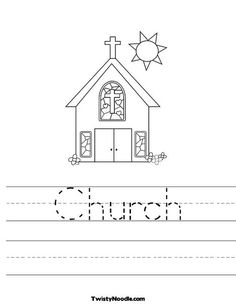 Pre Reader Church With Stained Glass Window Worksheet