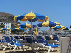Photography - sun loungers in Gran Canaria. I love the yellow and blue!