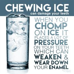 Dentaltown - Chewing ice can damage your teeth. When you chomp on ice it places a lot of pressure on your teeth which can weaken and wear down your enamel. While it may be tempting, it is never a good idea to chew on ice! In addition to wearing down the enamel of your teeth, ice chewing can cause tooth fractures and problems with your jaws.
