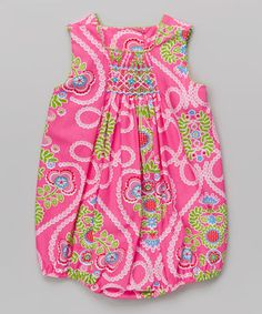 Hot Pink Floral Smocked Bubble Bodysuit - Infant