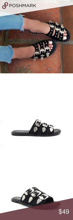 acf90f695407 Summer Sale! Jackie Studded Sandals Description These slide sandals  features triple buckle band vamp with · Leather MenVegan ...