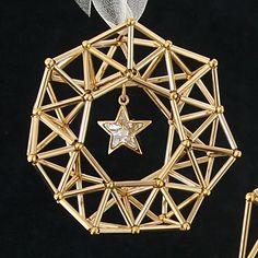 レシピNo.1369 直パイプのヒンメリ風リース2種 Christmas Jewelry, Christmas Crafts, Xmas, Christmas Thoughts, Geometric Decor, Math Art, Bugle Beads, Diy Arts And Crafts, Wire Art