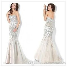 2014 New Sexy Mermaid/Trumpet Strapless Sweep Train Prom Dresses Satin And Tulle Sleeveless Zipper Appliques Beads Fashion New Evening Dress Online with $157.07/Piece on Camilledresses's Store | DHgate.com