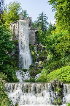 Trick fountains in the Bergpark Wilhelmshohe in Kassel, Germany (by kai.moenig)