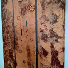 """'Is There Life On Mars?' 12"""" x 9"""" copper washers acrylics on canvas edwarddemarsh.com Life On Mars, Washers, Acrylics, Vintage World Maps, Abstract Art, Copper, Canvas, Tela, Washing Machine"""