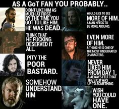 1.NO it was LUST at 1st sight. 2.Yes , he did, but I still thought he was a FOX . 3.NO not really. 4 . Hodor 5.Well, I wouldn't hate it.6. YES can't WAIT to see how it goes down with him and Lady Stoneheart, 7.YES!!! hated from the moment he snatched the pup from Bran in episode 1 & 8. nope.. I want a dragon.