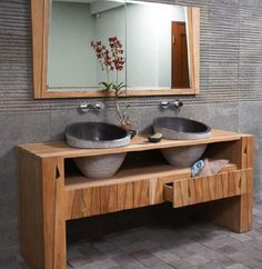 Bathroom Vanity: Wooden Benchtop & Stone Sink | The wooden frame has a rustic feel to it. The stone sinks works well as they (when sealed) are smooth, easy to keep clean and don't soak up the water. They also don't show chips or breaks as easily due to the darker colour.