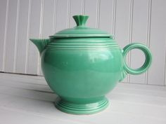 I have always loved this color...especially combined with yellow and cobalt blue.  Such a cute little teapot. SALE Fiestaware Teapot Vintage Mint Green by GoodBonesVintageCo, $85.00