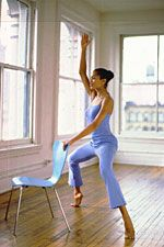 "Get a dancer's body (because all dancers always look freaking amazing...so jealous!).  You'll need the back of a chair as a ""barre"""