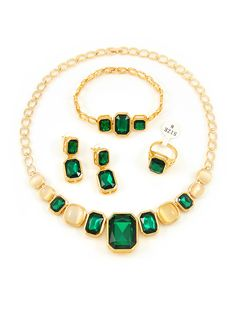 Africa style low-key crystal jewelry sets in gold plated from China jewelry manufacturer