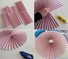 DIY rosace papier - rosette paper - grande Plus Diy Décoration, Easy Diy, Diy Flowers, Paper Flowers, Fleurs Diy, Paper Fans, Diy Origami, Diy Party, Baby Shower Decorations