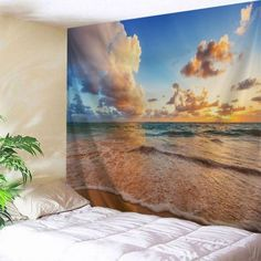 Beach View Print Tapestry Wall Hanging Art