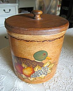 Vintage hand painted, artist signed Ransbottom covered crock for sale at More Than McCoy on TIAS for $36!