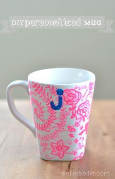 DIY doodle mug -- inspired by Anthropologie