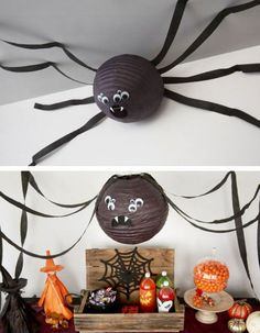 Paper Lantern Spider & Click Pic for 20 DIY Halloween Decorations for Kids to Make & Cheap and Easy Halloween Decorations on a Budget: Deco Haloween, Theme Halloween, Halloween Dance, Halloween Decorations For Kids, Halloween 2019, Holidays Halloween, Paper Decorations, Kids Halloween Games, Haloween Party
