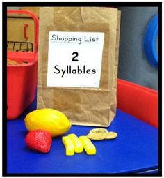Shopping for syllables. Could do this for vowel sounds