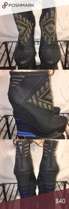 MICHAEL ANTONIO STUDIO Platform Ankle Boots Beaded ❤️Never worn only stored Sexy black boots with beaded embellishments! Slight nicking noted from storage (see photo) but a great addition to your closet ! Michael Antonio Shoes Ankle Boots & Booties