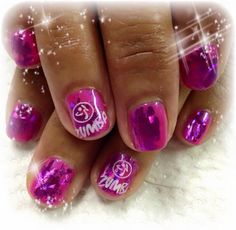 Pink Zumba #nailart #manicure #figtreestamps #figtreecomp stamping nails