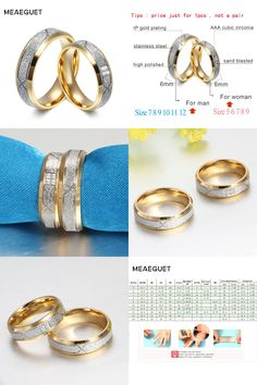 [Visit to Buy] Meaeguet Fashion Gold-color Lover's Wedding Rings Sand Blasted 316L Stainless Steel Rings For Engagement Anel Jewelry #Advertisement
