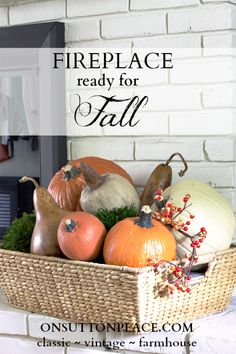 Fall Mantel and Fireplace Inspiration. Includes ideas for decorating around a large TV! #fireplace #falldecor #fallmantel