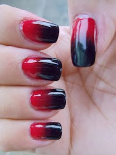 Black and Red Gradient Nail Tutorial - Miami Heat inspired colors Nail Designs 2015, Black Nail Designs, Colorful Nail Designs, Gradient Nails Tutorial, Beautiful Nail Art, Nail Tutorials, Red Nails, Nails Inspiration, How To Do Nails