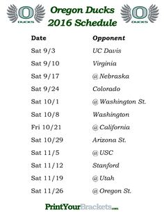 Printable Oregon Ducks Football Schedule 2016