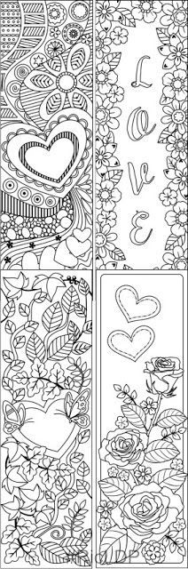 Valentines Coloring Bookmarks set 2 Coloring bookmarks for Valentines Day. Hearts Day #heart #valentines #bookmarks