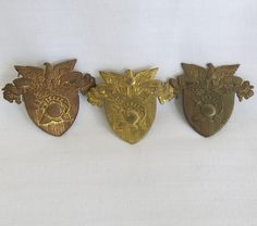 3 WWII Era Vintage West Point Military Academy WPMA Hat/Cap Badges. These three badges are stamped brass and are from the same estate. One has a