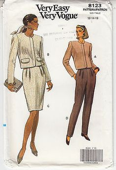 Classic Jacket Skirt Pants Semi Fitted VOGUE Sew Pattern 8123 Easy Sz 12-16 FF