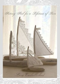~Cottage Decor, Cake Toppers, Gifts and Favors~ Beautiful beyond compare! Stunning driftwood sailboats with textiles of times past. Set of Four Coastal Decor, Seaside Decor, Bohemian Beach Decor, Coastal Style, Sailing Decor, Sailboat Decor, Diy Beach Decorations, Beach House Diy Decor, Beach Cottage Decor