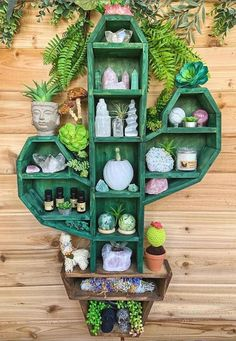 Effective cactus shaped shelf to arrange plants and crystals on. Handmade Home Decor, Diy Home Decor, Woodworking Plans, Woodworking Projects, Woodworking Machinery, Oxalis Triangularis, Essential Oil Shelf, Essential Oils, Triangle Shelf
