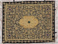 Jewel Carpet Wall Hanging – Royal Gold Zardozi Kashmiri Handicraft from India