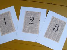 DICTIONARY WEDDING TABLE Markers  Vintage by PlethoraOccasions