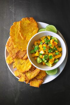 Fried Green Plantains + Mango Avocado Salsa by Michelle Tam http://nomnompaleo.com