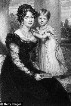 Toddler Queen Victoria with her mother Victoria, Duchess of Kent, nee Princess Victoria of Saxe-Coburg-Gotha.  Her mother's brother, Duke Ernst I of Saxe-Coburg-Gotha, was the father of Queen Victoria's beloved husband, Albert.