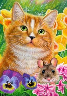 ACEO original orange cat mouse spring showers flower garden painting art is part of Flower garden Painting - Animals And Pets, Cute Animals, Illustration Noel, Cat Mouse, Garden Painting, Painting Art, Cute Kitten Gif, Ginger Cats, Blue Cats